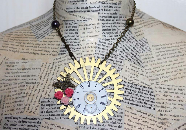 Vintage Steampunk Cog Butterfly Rose Charm Statement Gold Necklace