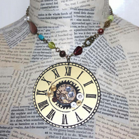 Large Clock Charm Steampunk Vintage Bead Statement Gold Necklace
