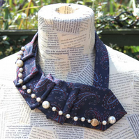 Tie and Pearl Bead Ruched Collar Necklace Scarf Wrap