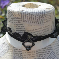Ivory Ribbon and Black Lace Gothic Victorian Necklace Choker Wedding Accessory