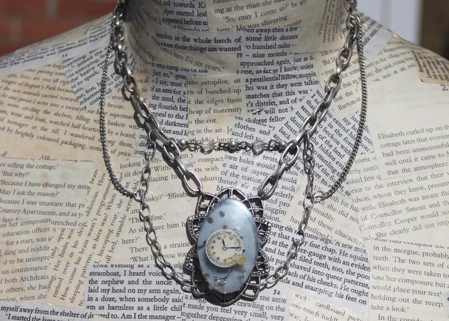 Steampunk Dieselpunk Resin Statement Silver Necklace