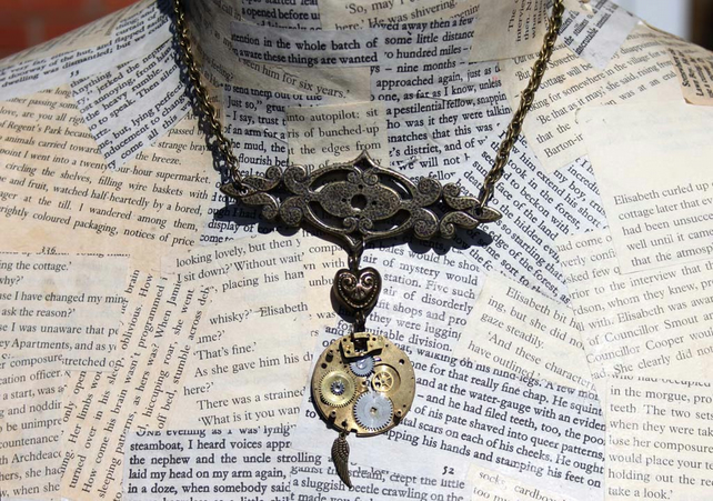 Steampunk Angel Wing Heart Charm Vintage Watch Part Gold Necklace