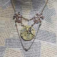 Steampunk Pearl Gold Statement Vintage Necklace
