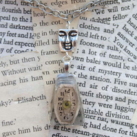 Steampunk Resin Face Charm Silver Necklace
