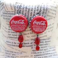 SALE Upcycled Repurposed Red Coca-Cola Bottle Top Dangle Hook Silver Earrings
