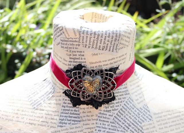 SALE Steampunk Gothic Resin Heart Choker Ribbon Silver Necklace