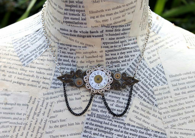 Staetment Steampunk Vintage Repurposed Silver Chain Necklace