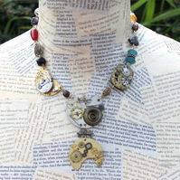 Upcycled Repurplsed Vintage Watch Steampunk Beaded Gold and Silver Necklace