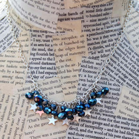 SALE Silver Star Charm Blue Bead Handmade Necklace