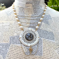 Steampunk Statement Vintage Watch Pearl and Gold Necklace