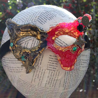 Gold, Red and Black Butterfly and Charm Masquerade Steampunk Costume Mask