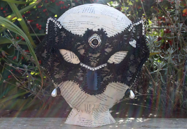 Steampunk Black Lace Faux Pearl Silver Rose Masquerade Bat Mask