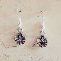 Flower Charm Dangle Hook Silver Earrings