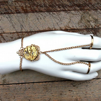 Gold Upcycled Repurpsed Vintage Watch Steampunk Slave Bracelet
