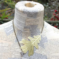 Silver Squirrel Charm and Gold Leaf Charm Autumn Necklace