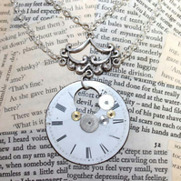 Silver Steampunk Repurposed Vintage Watch Face Handmade Necklace