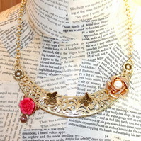 Gold Rose Flower and Butterfly Handmade Bib Statement Necklace