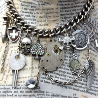 Statement Silver Kitsch Punk Multi Charm Skull and Key Necklace