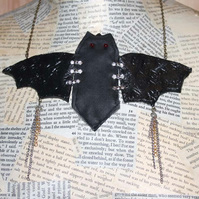 SALE Statement Bat Mixed Media Necklace Halloween Goth