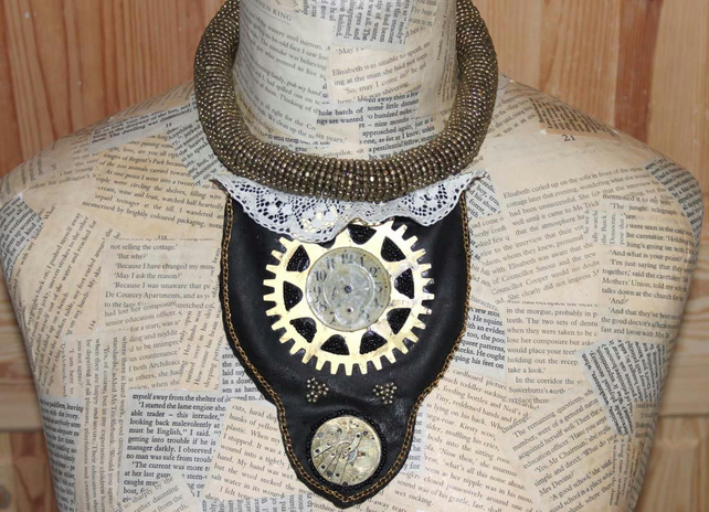 Vintage Steampunk Statement Choker Collar Bib Gold Necklace
