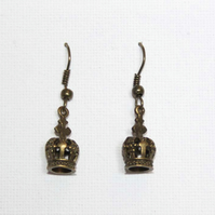 Gold Crown Charm Queen Royalty Princess Dangle Hook Earrings