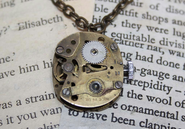Steampunk Vintage Watch Movement Reversible Gold Necklace