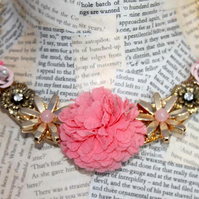 SALE Rose Flower Pink and Gold Bib Collar Necklace