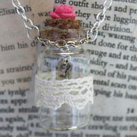 SALE Rose Key Charm Glass Bottle Pendant Silver Necklace