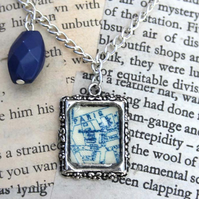 Paris Map Frame Blue Bead Silver Necklace