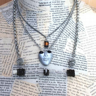 Dieselpunk Multi Strand Face Wire Wrapped Silver Necklace