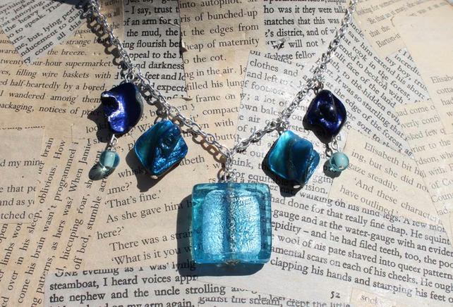 Blue Glass Shell Bead Silver Necklace