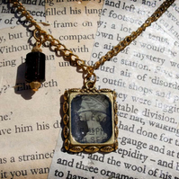 Black Postage Stamp Resin Charm Gold Necklace