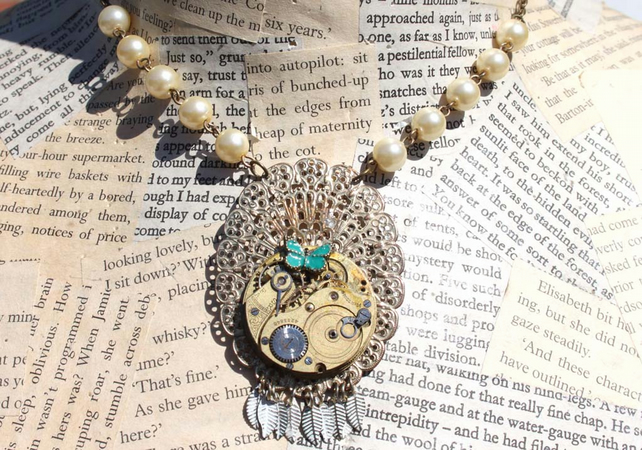 Steampunk Butterfly Feather Gold Pearl Necklace