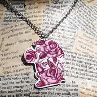Pink Rose Rockabilly Tattoo Kitsch Silver Necklace