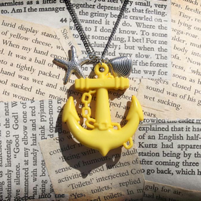 Yellow Anchor Silver Seashell Starfish Charm Long Length Necklace