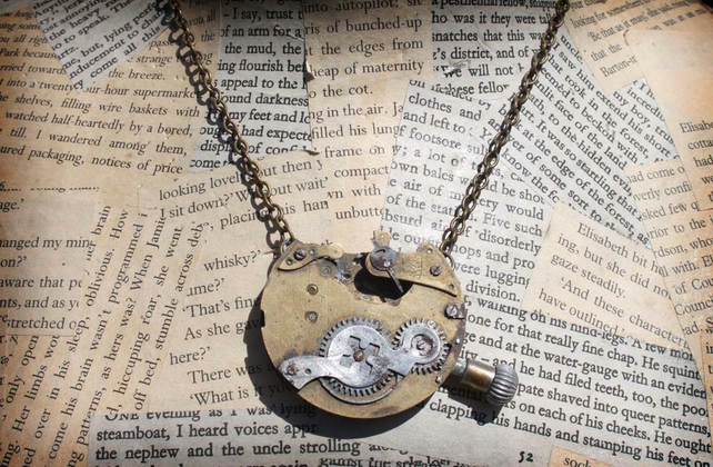 Vintage Pocket Watch Steampunk Gold Necklace