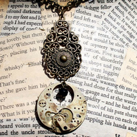Steampunk Vintage Watch Part Gothic Style Necklace