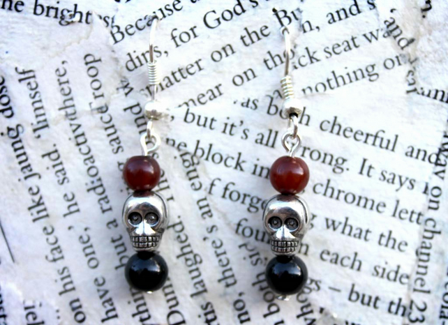 Silver Skull Charm Bead Dangle Hook Earrings