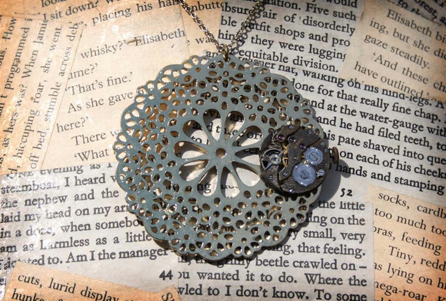 Gold Flower Steampunk Watch Part Statement Necklace