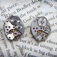 Steampunk Watch Movement Crystal Silver Stud Earrings