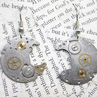 Steampunk Vintage Watch part Hook Dangle Silver Earrings