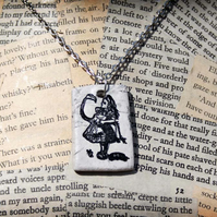 Alice in Wonderland Fairy Tale Flamingo Clay Silver Necklace