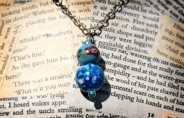 Blue Flower Double Bead Silver Necklace