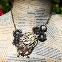 Steampunk Butterfly Flower Statement Necklace
