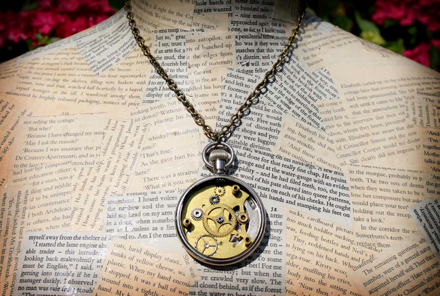 Steampunk Pocket Watch Reversible Necklace