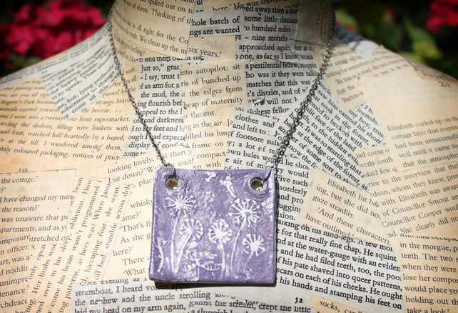 SALE Purple Dandelion Embossed Clay Silver Necklace
