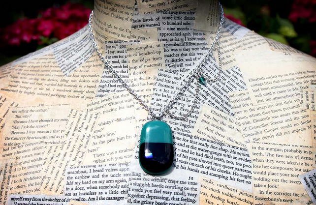 Silver Turquoise Glass Pendant Necklace