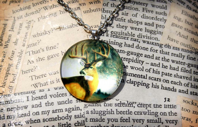 Glass Cabochon Deer Stag Necklace