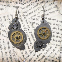 Steampunk Vintage Watch Part Crescent Moon Dangle Hook Earrings
