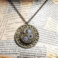 Steampunk Vintage Watch Gold Pendant Necklace
